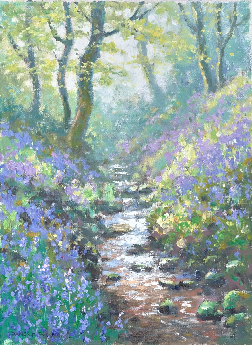 Stream in Bluebells by james preston -  sized 9x12 inches. Available from Whitewall Galleries